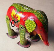Elephant Large Tin Wind-up Antique Lithograph Toy Floppy Ears Vintage Rare