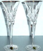 Waterford Crystal Lismore Golden Toasting Flutes Set/2 Gold Rim 163706 New Boxed
