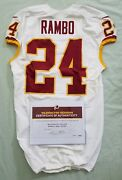 24 Bacarri Rambo Of Redskins Nfl Game Used And Unwashed Jersey Vs Vikings Wcoa
