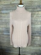 Lands End Large Cable Knit Sweater Peach Blush Turtleneck Long Sleeve