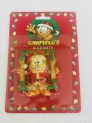 New Vintage 1996 Garfield Christmas Magnet In Holly Frame Paws Japan  P334