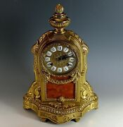 Brass And Rose Marble Italy Imperial Mantle Clock Franz Hermle Germany