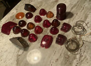 Vintage Auto Car Glass Lenses 20 +pcandrsquos Tail Light Etc Red Used Sold As A Lot