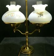 Vintage Double Brass And Glass Student Lamp W/ Bird Shades 16.25 X 14 Excellent