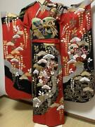 Pure Silk Furisode Kimono Full Set Embroidered With Gold Pieces F/s From Japan