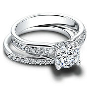 0.90 Ct Real Diamond Engagement Band Set For Women 18k White Gold Ring Size 4 5
