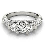 Solid 18 K White Gold Round Cut 1.46 Ct Real Womens Diamond Wedding Ring Size 6