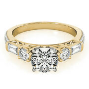 Solid 18k Yellow Gold Womens Rings 1.67 Ct Real Diamond Engagement Ring Size 6 7