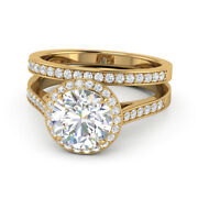 18k Yellow Gold Real 1.01ct Diamond Engagement Wedding Band Set For Bride 6 7 5