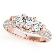 Round Cut 1.46 Ct Real Womens Diamond Wedding Ring Solid 18k Rose Gold Size 6 7