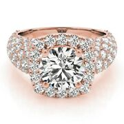 18k Rose Gold Ring 1.70ct Real Solitaire Diamonds Engagement Wedding Rings 5 6 7