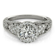 Solid 18k White Gold Womens Rings 1.10ct Real Diamond Engagement Ring Size 6 7
