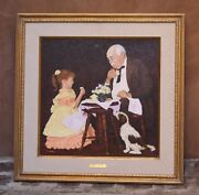 Magnificent O/c Painting By Gerald Farm American Listed Artist The Tea Party