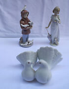 Magnificent 3p Of Hand Painted Lladro Porcelain Figurines
