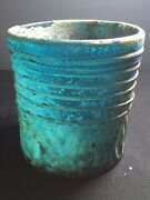 Ancient Roman Glass Rare Authentic Glass With Lining Design Blue Color