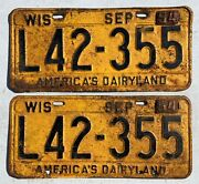 Antique Automobile Vintage Pair Of 1953 Wisconsin License Plates 54 Tin Tags