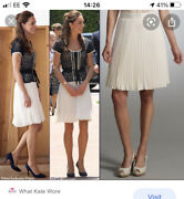 Whistles White Pleated Skirt Size 16 As Seen On Duchess Of Cambridge Rare