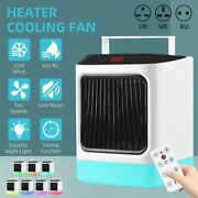 Portable Electric Heater Cooling Fan Night Light Hot Cold Air For Home Room Usa