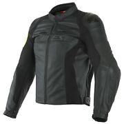 Dainese Vr46 Pole Position Mens Leather Motorcycle Jacket Black/yellow