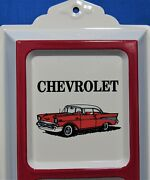 And03957 Chevy Advertising Thermometer Embossed Tin Cream Background