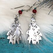 Far Fetched Sterling Silver Christmas Tree Earrings W/familychildren Parents