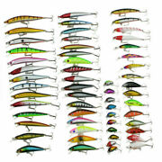 Lot Of 30/56 Durable Fishing Lures Spinner Baits Bass Tackle Colorful Crank Bait
