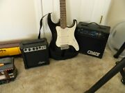 Lyon By Washburn Strat Style Electric Guitar W/case And 9v Lyon And Crate Mx10 Amps