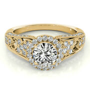 Solid 18k Yellow Gold Womens Rings 1.10ct Real Diamond Engagement Ring Size 6 7