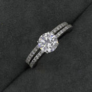 Real 14k White Gold 1.30 Ct Diamond Engagement Solitaire Valentines Band 5 6 7 8
