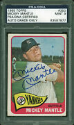 Yankees Mickey Mantle Signed 1965 Topps 350 Card Auto Graded Mint 9 Psa Slabbed