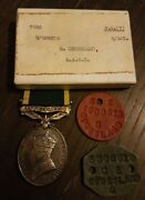 Territorial Efficiency Medal. Box Of Issue And His Dog Tags.