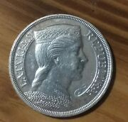 Silver Coin Au Milda 5 Lats Latvia National Currency Before World War 2 1929