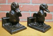 Ducklings Antique Cast Iron Decorative Arts Bookends Baby Bird Figural Statues