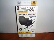 Copper Fit Never Lost Face Masks W/lanyard 1 Blue And 1 Charcoal/black New 2 Pack