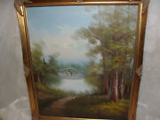 N. Mercy- Forest Foot Path To The Bridge Oil On Canvas Painting Signed