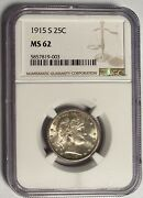 1915-s Barber Quarter Semi - Key Date Ngc Ms62 Andmdash Only 704000 Minted