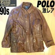 Polo By Leather Jacket Deerskin Men L 90and039s Vintage Rare From Japan