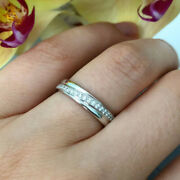 Real 950 Platinum Diamond 0.22 Ct Couples Valentine Band Sets All Sizes