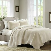 Madison Park Tuscany Quilt Set, Full/queen, Scallop Edges Cream, 3 Piece New