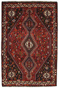 Vintage Tribal Oriental Qashqai Rug 6and039x9and039 Red Hand-knotted Wool Pile