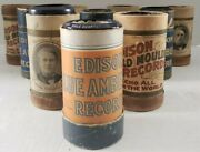 Antique Lot Of 10 Edison Assorted Blue Cylinder Records W/ Sleeves