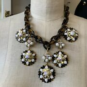 Jumbo J.crew Gold Tone Faux Tortoise Shell Lucite Floral White Dangle Necklace❤️