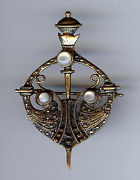 Antique Gold Plated Moonstone Glass Cabochon Celtic Sword And Shield Pin Brooch