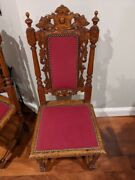 Antique 19th Century Hand Carved Wooden Chairs/ Set Of Four Chairs