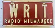Vintage Wisconsin Writ Radio License Plate 1960and039s