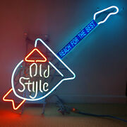Old Style Beer Neon Guitar Sign 39x22