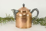 Copper Antique Tea Kettle Pewter And Brass Mounts Rochester 36487