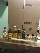 Huge Lot 8 Vintage Gun And Fishing Reel Oil Glass Bottles Tin Lids Can Collection