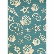 Outdoor Escape 3and0396w X 5and0396l Handhooked Cardita Shell Area Rug Turquoise/ivory