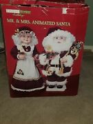 Vintage Living Home Holiday Lighted And Animated Mr And Mrs Santa Claus Figures 25